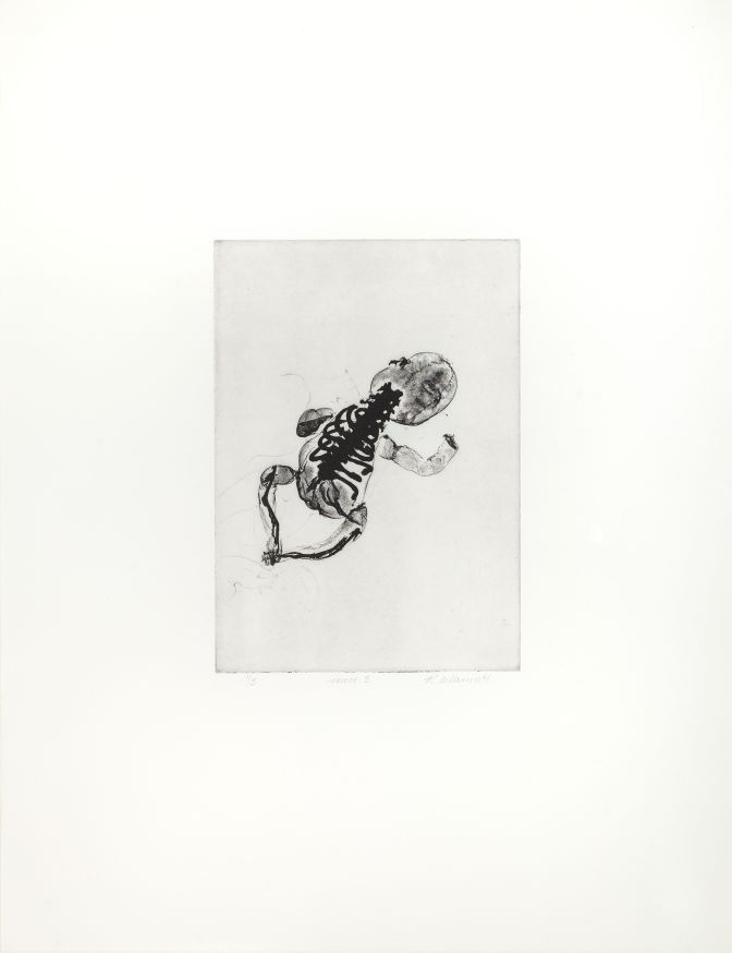 Click the image for a view of: Rosemarie Marriott. vroed 3. 2015. Polymer etching. Edition 3. 650X500mm