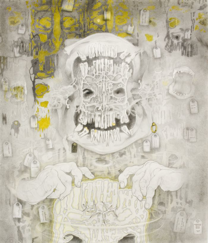 Click the image for a view of: MOUTHPIECE- ARTIST AKA SACRED SHROUD SELLER. 2011. Pencil, coloured pencil and gold leaf on paper. 1220X1036mm