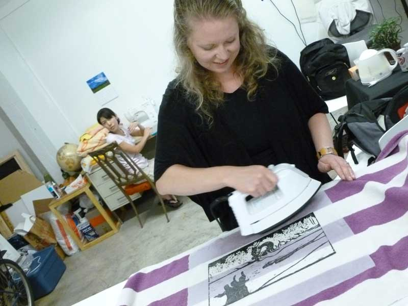Click the image for a view of: Jessica ironing out the kinks… That's artist/grad student Yoko Hattori in the back