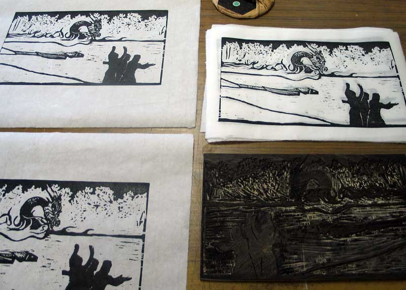 Click the image for a view of: The editioned woodcut. Title: The Midst